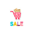 shopping cart icon with parcels and sale symbol vector image vector image