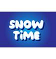 snow time text 3d blue white concept design logo vector image vector image