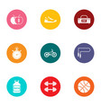 sport foodstuff icons set flat style vector image vector image