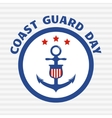 Symbol of coast guard on grey stripe background vector image vector image