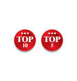 top ten and top five label button vector image vector image