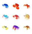 Types of crabs icons set cartoon style vector image