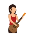 woman playing guitar instrument isolated icon vector image vector image
