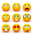 yellow 3d emoticons set funny smiley face vector image vector image