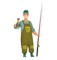 young man in rubber suit and with fishing rod in vector image