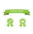 flat green ribbon with guarantee sign vector image