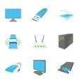 Computer setup icons set cartoon style vector image
