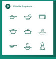 9 soup icons vector image vector image