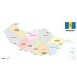 administrative map portuguese island madeira vector image vector image
