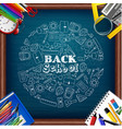 back to school and whiteboard with colored pencils vector image vector image