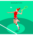 Badminton 2016 Summer Games 3D Isometric vector image