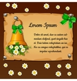 Bell with flowers daisies parchment card vector image