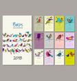 birds family calendar 2018 design vector image vector image