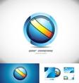Blue orange sphere circle 3d logo design vector image vector image