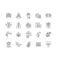 botany line icons signs set outline vector image vector image