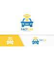 car and wifi logo combination vehicle and vector image