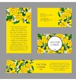 Cards with yellow daffodils on a yellow background vector image vector image