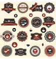 Coffee labels and elements in retro style vector image vector image