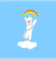 creator cartoon character in action on white cloud vector image
