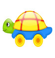 cute toy turtle on wheels isolated vector image