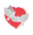 doves flying and red heart vector image vector image