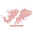 Falkland islands map - mosaic of valentine hearts