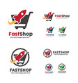 fast shop logo shopping cart with rocket symbol vector image vector image