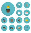 flat icons contact armchair board stand vector image vector image