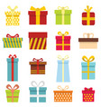 gift icons and present boxes in cartoon flat style vector image vector image