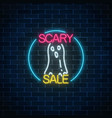 glowing neon sign of halloween sale banner design vector image vector image
