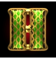 golden and green letter h vector image vector image