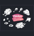 Hand drawn food poster chicken parts and eggs