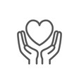 hands hold heart charity donation valentine day vector image
