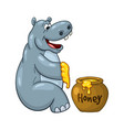 happy cartoon hippopotamus prepared to eat large vector image vector image