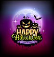 happy halloween pumpkin design on moon vector image