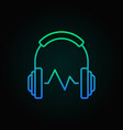 headphone with sound wave colored linear vector image vector image
