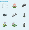 isometric city set of sculpture crossroad aiming vector image vector image