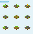 isometric road set of navigation unilateral vector image vector image