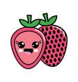 kawaii nice happy strawberry icon vector image vector image