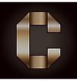 Letter metal gold ribbon - C vector image vector image