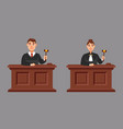 male and female judges in cartoon style vector image vector image
