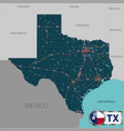 map of state texas usa vector image vector image