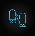 mittens blue linear icon on dark background vector image