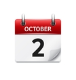 October 2 flat daily calendar icon Date vector image vector image