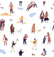 people in autumn clothes or outerwear seamless vector image vector image