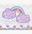 rainbow with fluffy clouds and flowers leaves vector image vector image