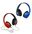Red and blue headphones vector image vector image