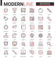 school education thin red black line icon vector image vector image