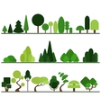 set flat trees pine bushes fancy plants vector image