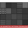 Set of 20 abstract geometric patterns black vector image vector image